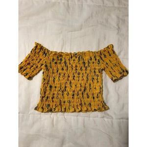 Zaful Yellow Floral Off-The-Shoulder Crop Top
